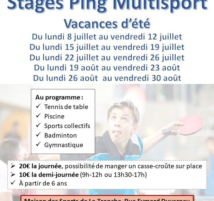 Stages ping et multisport