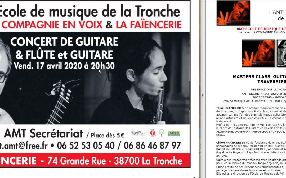 L'AMT organise un concert et deux masterclass:  guitare et flûte traversière